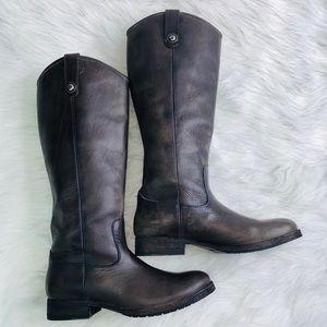 Frye Melissa Button Lug Tall Boot Dark Brown